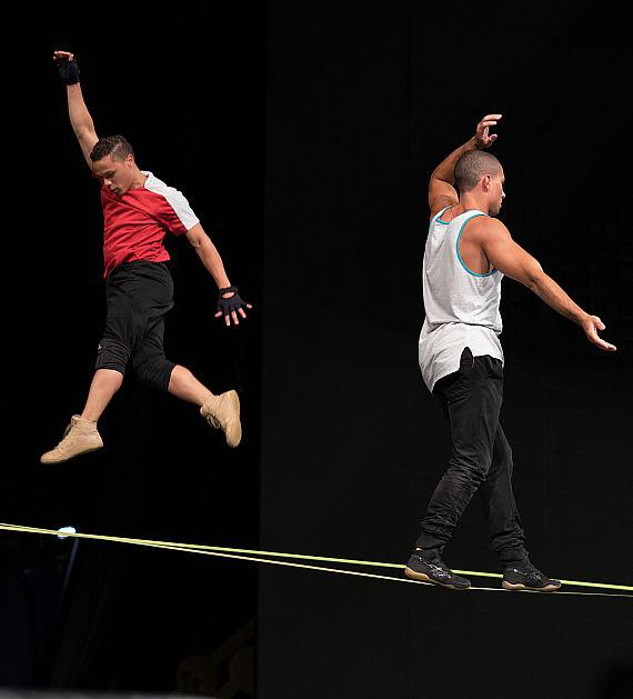 Michael Jackson ONE artists rehearse on slackline during birthday celebration at Michael Jackson ONE, Aug. 29, 2017