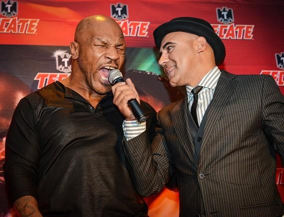Mike Tyson with announcer at Cabo Wabo Cantina