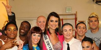 Miss Universe, Stefania Fernandez, with cast of The Beatles LOVE