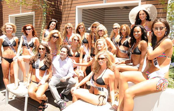 George Maloof with Miss USA 2011 contestants at Palms Place Hotel and Spa