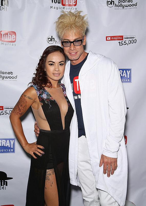 Murray SawChuck with model Dixie Luthgarda Miranda at his 100,000 YouTube Silver Creator Award Party in Las Vegas