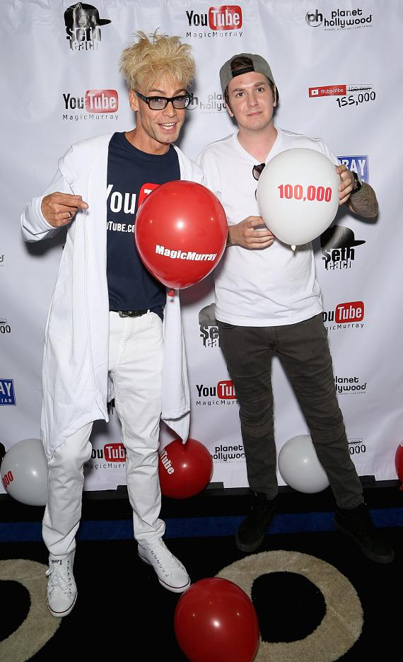 Murray SawChuck with YouTube business partner Seth Leach at their 100,000 YouTube Silver Creator Award Party in Las Vegas