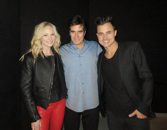 Musician Joe King and Actress Candice Accola attend David Copperfield's Performance at MGM Grand
