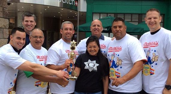 Las Vegas Metropolitan Police Department wins local heroes competition by consuming a total of 33 hot dogs