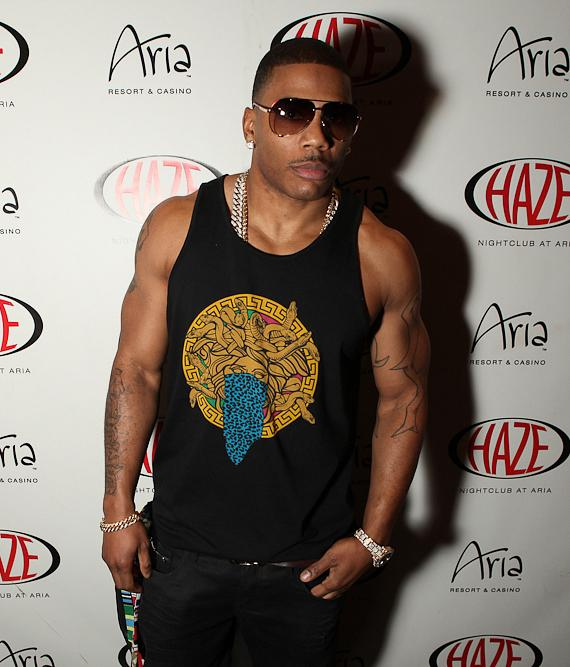 Nelly arrives at HAZE Nightclub at ARIA