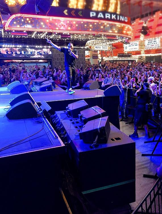 Nelly performs in front of thousands of fans for free on Fremont Street Experience in Las Vegas