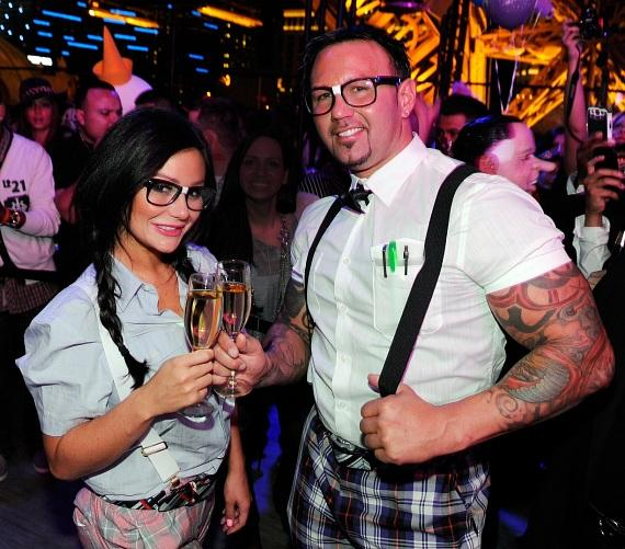 Newly engaged Jenni 'JWoww' Farley and fiancé Roger Mathews toast to a night out and their engagement at Chateau Nightclub