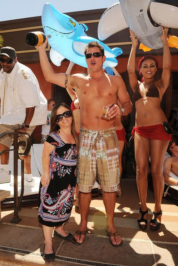 "Nick Lachey with ""mini Vanessa"" at TAO Beach"