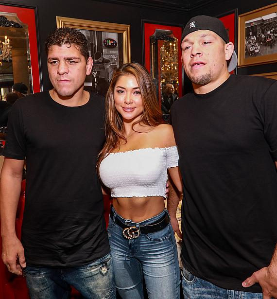 UFC Ring Girl Arianny Celeste and UFC Fighters Nick and Nate Diaz Host Meet and Greet at Sugar Factory American Brasserie in Las Vegas at Fashion Show