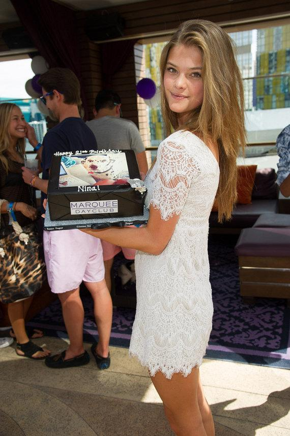 Nina Agdal with birthday cake