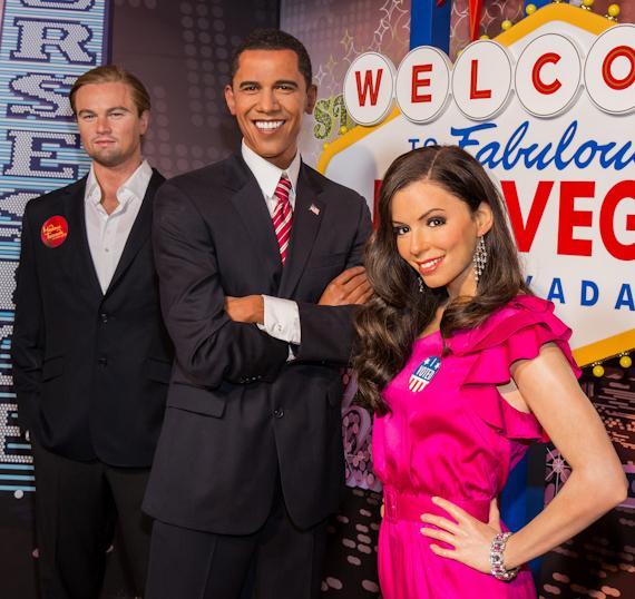 Wax figures of celebrity endorsers Eva Longoria and Leonardo DiCaprio with President Obama figure
