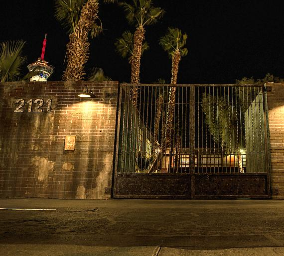 """The street entrance to the """"Official SAW Escape Experience"""" in Las Vegas"""