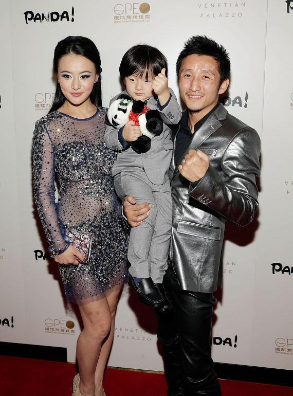 Olympic Gold Medalist Boxer Zou Shiming and family at PANDA! world premiere