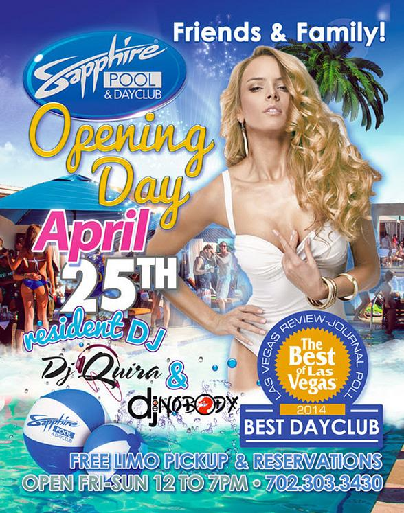 Sapphire Pool & Day Club Opens for Fun in the Sun on Friday April 25, 2014