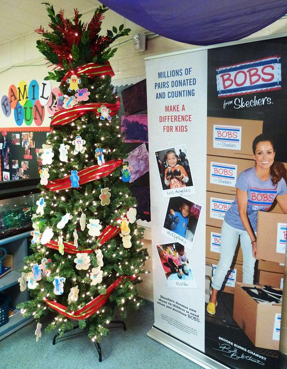 Christmas tree with ornaments decorated by children at the BOB from Skechers event at Variety Early Learning Center in Las Vegas