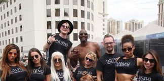 "The Cast of ""INFERNO: The Fire Spectacular"" Trades Fire for Water to Cool Down in the Las Vegas Heat with NBA Star Larry Johnson at Planet Hollywood Pool"