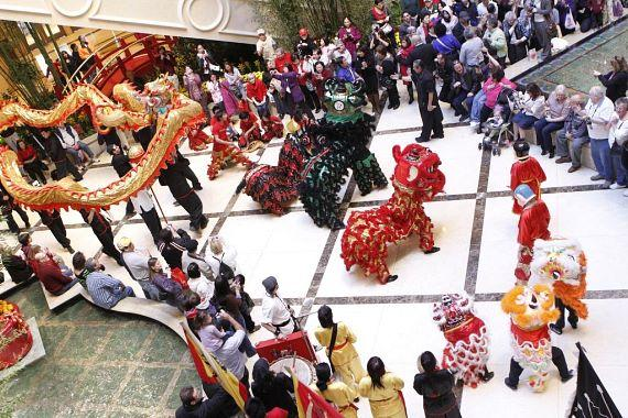 Dragon dance in The Palazzo's waterfall atrium last year