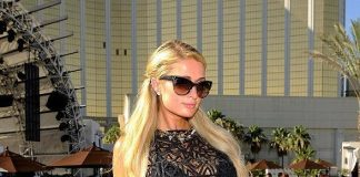 Paris Hilton attends Allison Melnick's birthday celebration at Daylight Beach Club at the Mandalay Bay Resort & Casino