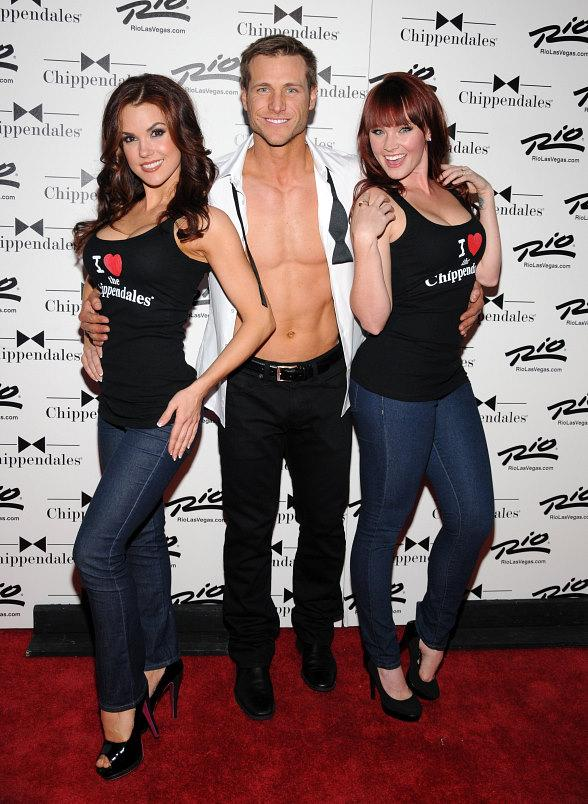 The Bachelor's Jake Pavelka on the red carpet with the Chippendales Chicks