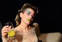 Peaches drinking at ghostbar's Snitch in Las Vegas