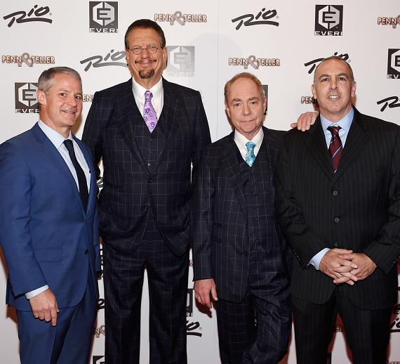 Rio All-Suite Hotel & Casino General Manager, Steve Ellis; Penn Jillette; Teller; Dean Ehrlich, Executive Vice President and Games Business Leader of Everi, launch the all-new new Penn & Teller Slot Game at Rio All-Suite Hotel & Casino in Las Vegas on Tuesday, Sept. 19