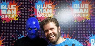 Gossip Columnist Perez Hilton Attends Blue Man Group Las Vegas