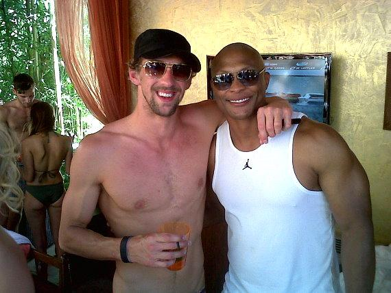 Phelps and Eddie George at TAO Beach