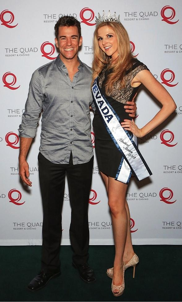 Miss Nevada United States, Hilary Billings congratulates Jeff Civillico on his one-year anniversary at The Quad Resort & Casino