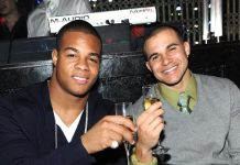 Pierre Thomas and Lance Moore of Superbowl Champion New Orleans Saints Celebrate at LAVO