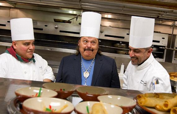 mon Ayala joins head chef, Jose Mora, and executive chef, Nester Rodriguez, to create a signature dish in the kitchen