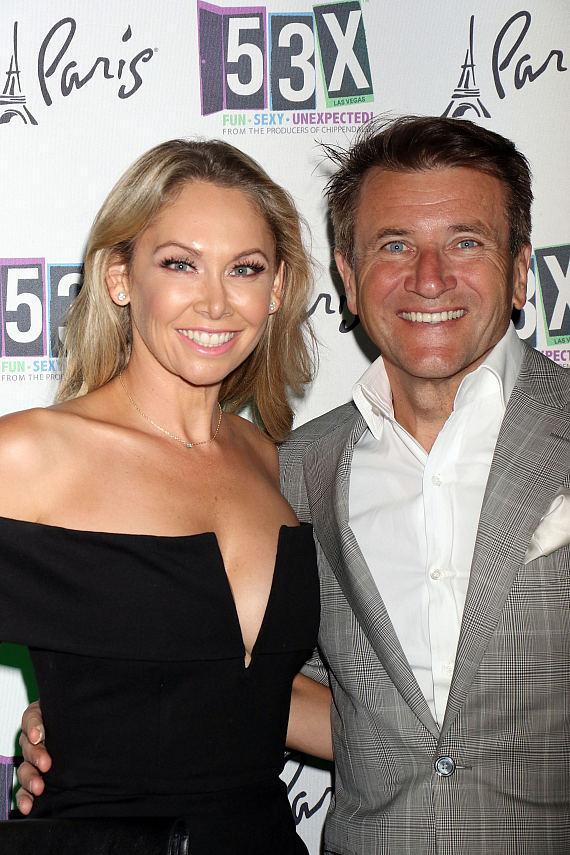 """""""Dancing with the Stars"""" champ Kym Johnson & and fiancé Robert Herjavec with cast of """"53X"""" at Paris Las Vegas"""