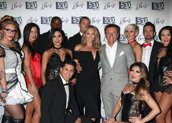 Kym Johnson and Robert Herjavec with the cast of 53X at Paris Las Vegas