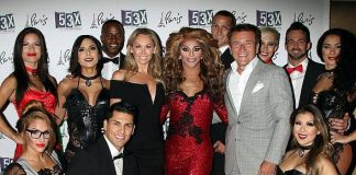 """Dancing with the Stars"" champ Kym Johnson & and fiancé Robert Herjavec with cast of ""53X"" at Paris Las Vegas"