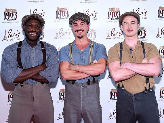 Queenie Elephant Puppeteers Nyron Levy, Chris Milford and Daniel Fanning at Opening Night of CIRCUS 1903 at Paris Las Vegas