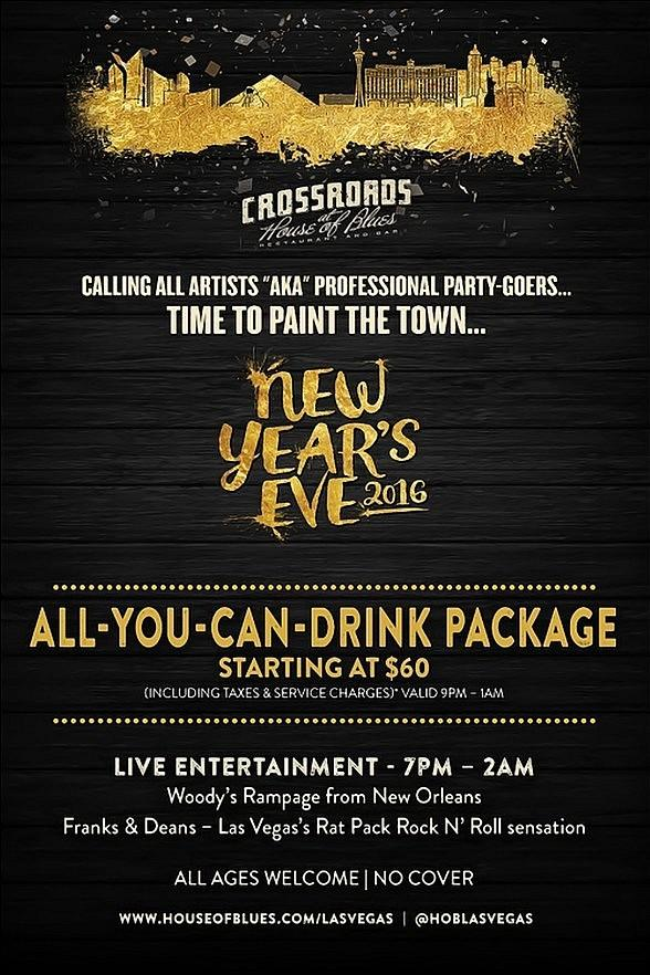Crossroads at House of Blues Las Vegas offers All-You-Can-Drink Package for New Year's Eve 2016