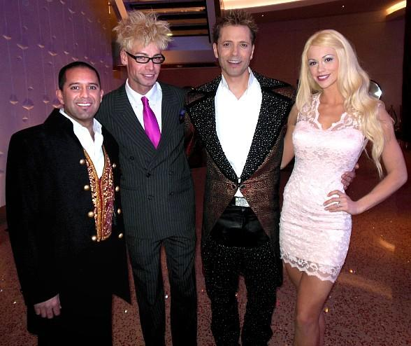 Murray SawChuck Visits Magicians Jarrett and Raja at New America's Got Talent Live Show at The Palazzo