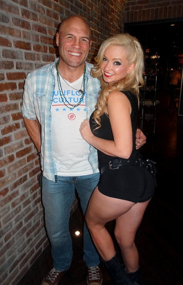 Randy Couture and Mindy Robinson watch the Big Game at Downtown Las Vegas Events Center