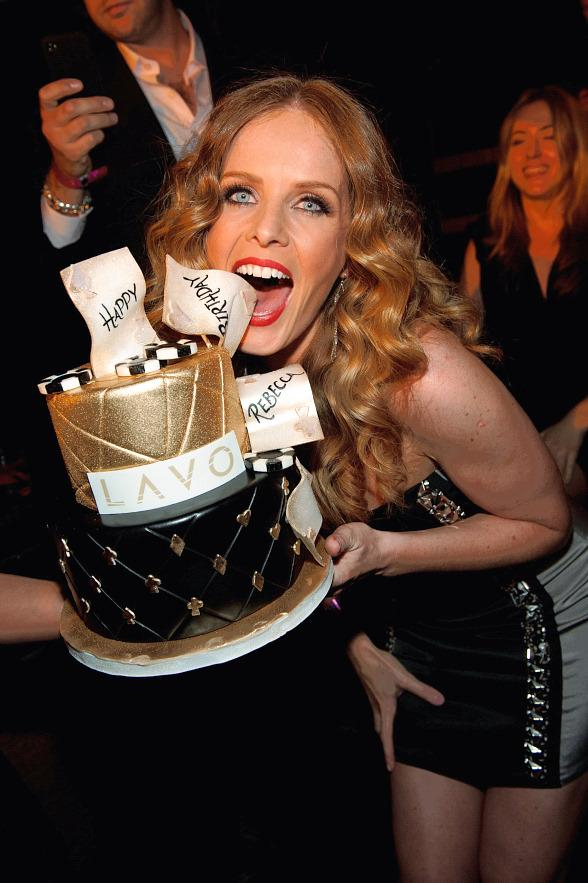 Rebecca Mader with cake at LAVO Las Vegas