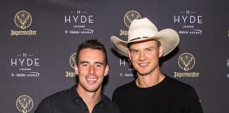 Vegas Golden Knights Superstars Reilly Smith and Nick Holden at Hyde Lounge at T-Mobile Arena Las Vegas
