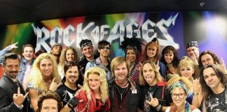 Rikki Rockett with the Rock of Ages Las Vegas Company