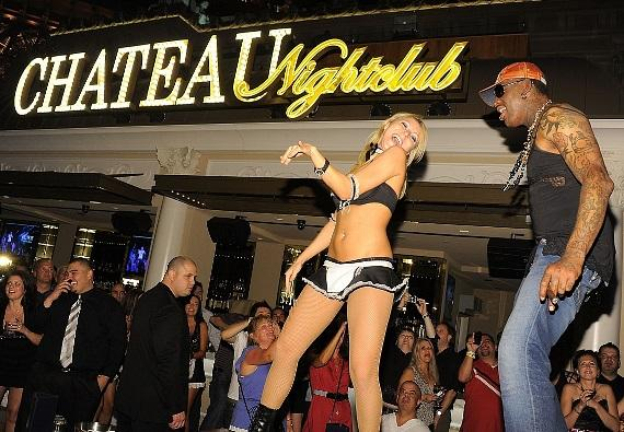 Dennis Rodman dances at Chateau Nightclub & Gardens at Paris Las Vegas