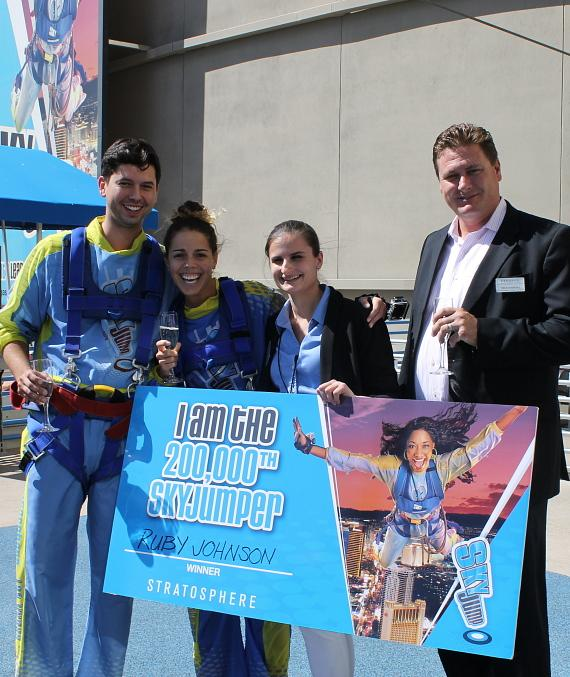 Ruby J., the 200,000th SkyJumper toast #200KDay with Stratosphere staff