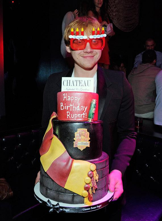 """upert Grint with """"Harry Potter"""" themed red velvet birthday cake at Chateau Nightclub & Gardens"""