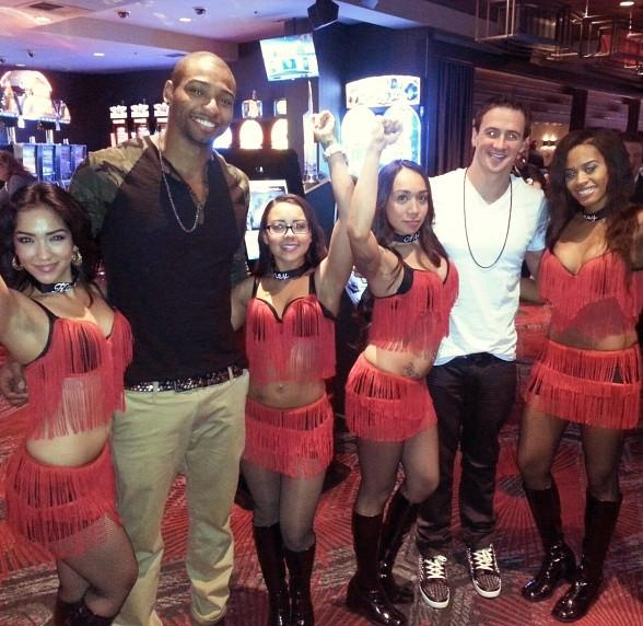Ryan Lochte and Cullen Jones celebrate New Years with dancing dealers at the D Las Vegas Casino Hotel