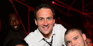 Ryan Lochte and friends at Hakkasan Nightclub