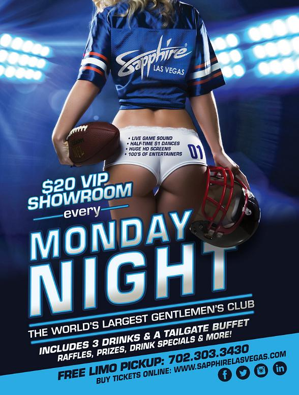 Sapphire hosts Detroit Lions vs. Seattle Seahawks Monday Night Football with $1 Halftime Dances Oct. 5
