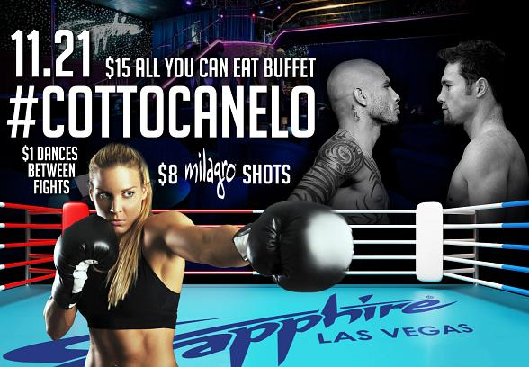 """TONIGHT! Sapphire to host Miguel Cotto vs. Canelo Alvarez """"Fight of the Year"""" Viewing Party Saturday, Nov. 21"""