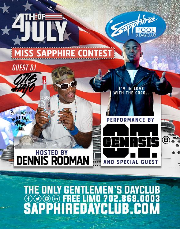 Party with Dennis Rodman and O.T. Genasis at Sapphire Pool & Dayclub Friday, July 4