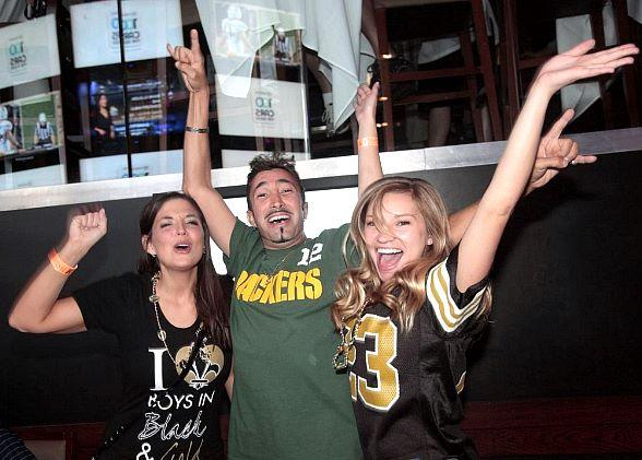 Saints and Packers Fans Cheering at Lagasse's Stadium