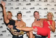 Sam & Billie Faiers on red carpet with Chippendale Dancers in Las Vegas